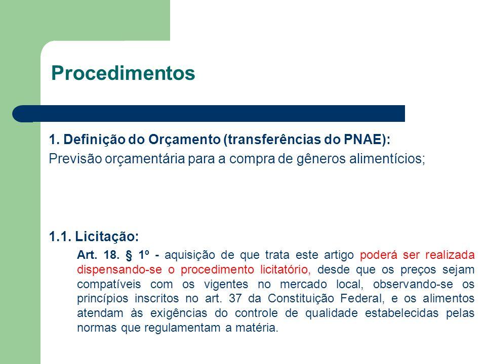 Procedimentos 1. Definição do Orçamento (transferências do PNAE): Previsão orçamentária para a compra de gêneros alimentícios; 1.1. Licitação: Art. 18