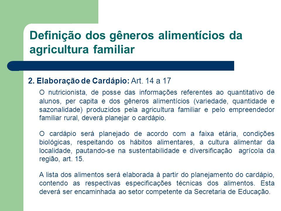 Definição dos gêneros alimentícios da agricultura familiar 2. Elaboração de Cardápio: Art. 14 a 17 O nutricionista, de posse das informações referente