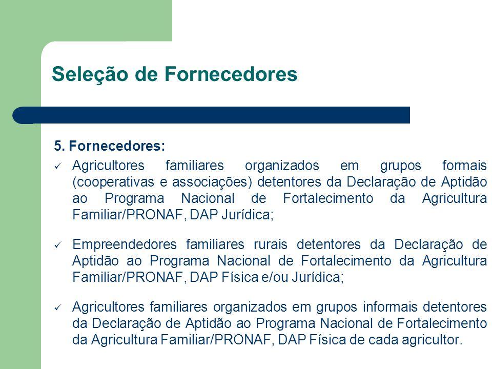 Seleção de Fornecedores 5. Fornecedores: Agricultores familiares organizados em grupos formais (cooperativas e associações) detentores da Declaração d