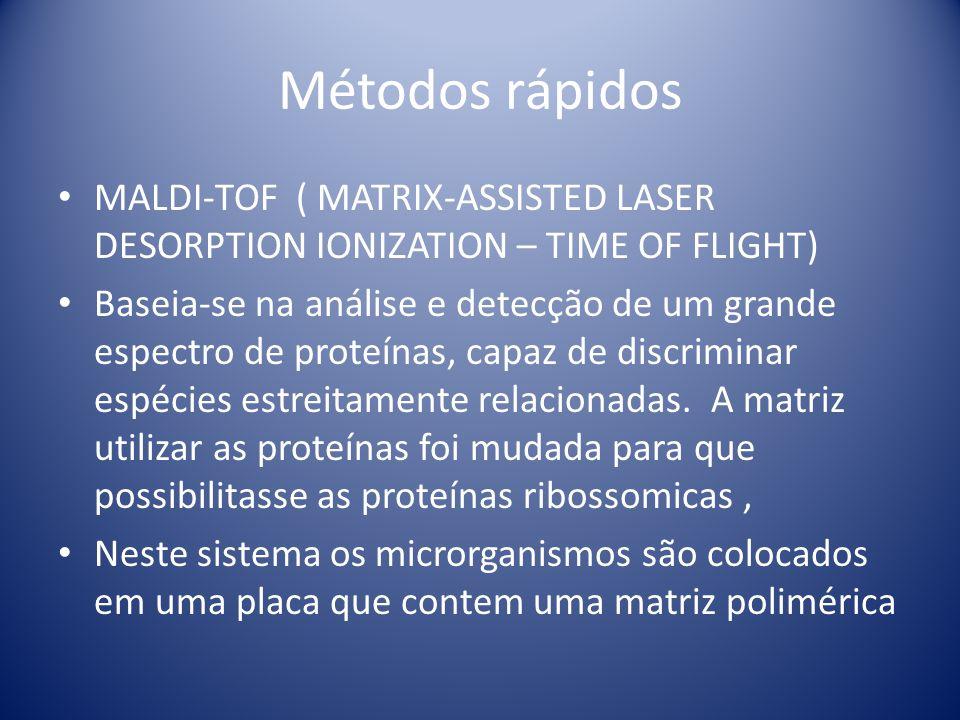 Métodos rápidos MALDI-TOF ( MATRIX-ASSISTED LASER DESORPTION IONIZATION – TIME OF FLIGHT) Baseia-se na análise e detecção de um grande espectro de pro
