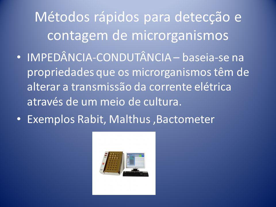 Métodos rápidos para detecção e contagem de microrganismos IMPEDÂNCIA-CONDUTÂNCIA – baseia-se na propriedades que os microrganismos têm de alterar a t