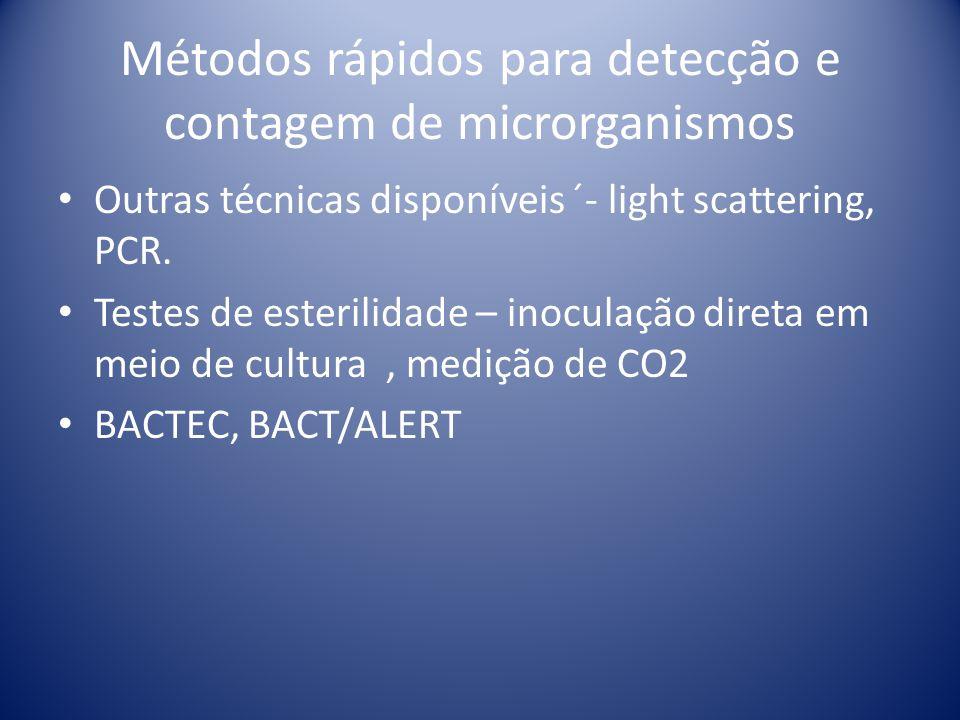Métodos rápidos para detecção e contagem de microrganismos Outras técnicas disponíveis ´- light scattering, PCR. Testes de esterilidade – inoculação d