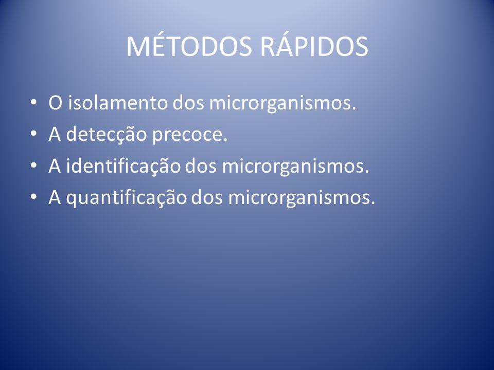 MÉTODOS RÁPIDOS O isolamento dos microrganismos. A detecção precoce. A identificação dos microrganismos. A quantificação dos microrganismos.