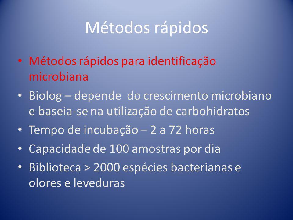 Métodos rápidos Métodos rápidos para identificação microbiana Phoenix – depende do crescimento microbiano, baseia-se na utilização de substratos bioquímicos e sensibilidade aos antibióticos Tempo de incubação - 3 horas Capacidade de 100 amostras por dia Biblioteca > 230 espécies bacterianas
