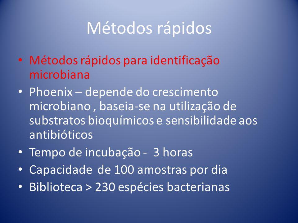 Métodos rápidos Métodos rápidos para identificação microbiana Phoenix – depende do crescimento microbiano, baseia-se na utilização de substratos bioqu