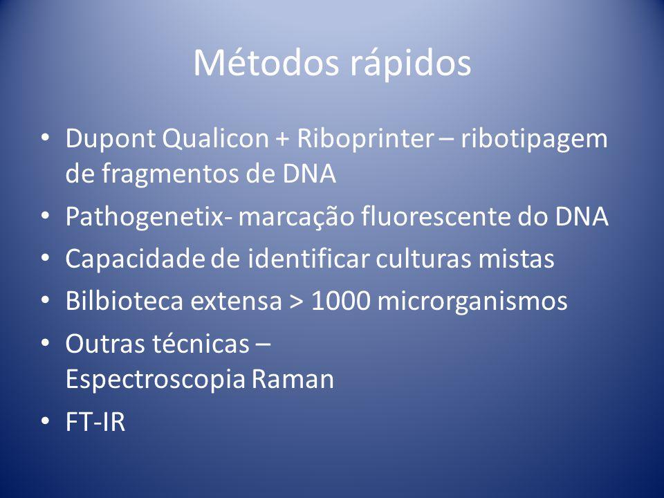 Métodos rápidos Dupont Qualicon + Riboprinter – ribotipagem de fragmentos de DNA Pathogenetix- marcação fluorescente do DNA Capacidade de identificar
