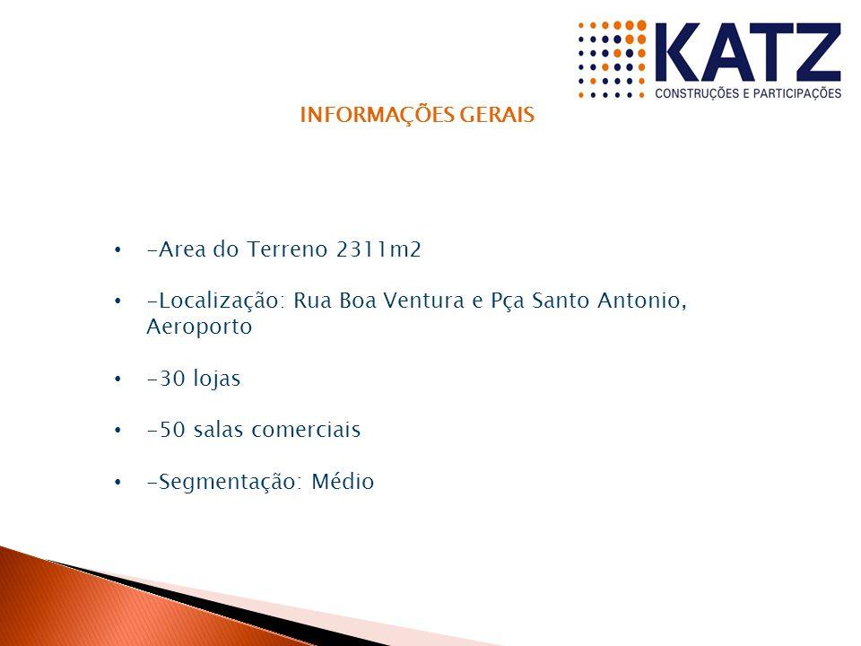 INFORMAÇÕES GERAIS -Area do Terreno 2311m2 -Localização: Rua Boa Ventura e Pça Santo Antonio, Aeroporto -30 lojas -50 salas comerciais -Segmentação: Médio