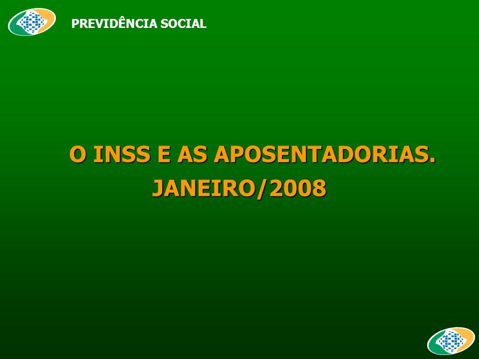 O INSS E AS APOSENTADORIAS. O INSS E AS APOSENTADORIAS.JANEIRO/2008 PREVIDÊNCIA SOCIAL