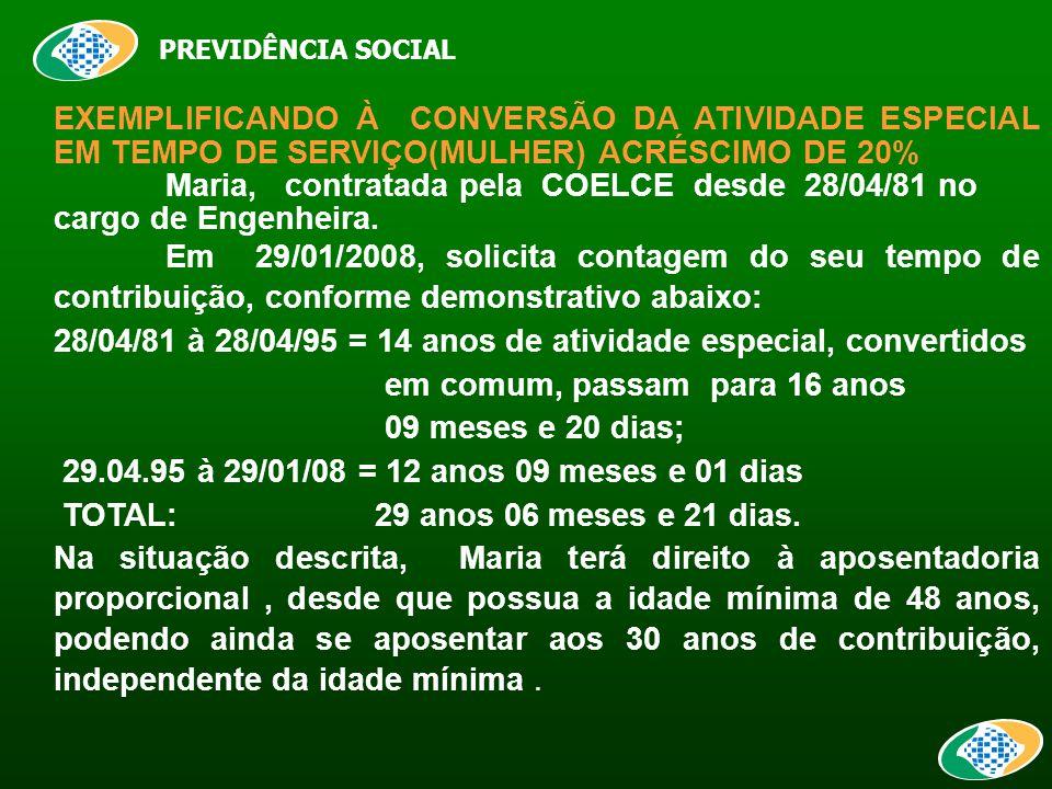 PREVIDÊNCIA SOCIAL EXEMPLIFICANDO À CONVERSÃO DA ATIVIDADE ESPECIAL EM TEMPO DE SERVIÇO(MULHER) ACRÉSCIMO DE 20% Maria, contratada pela COELCE desde 28/04/81 no cargo de Engenheira.