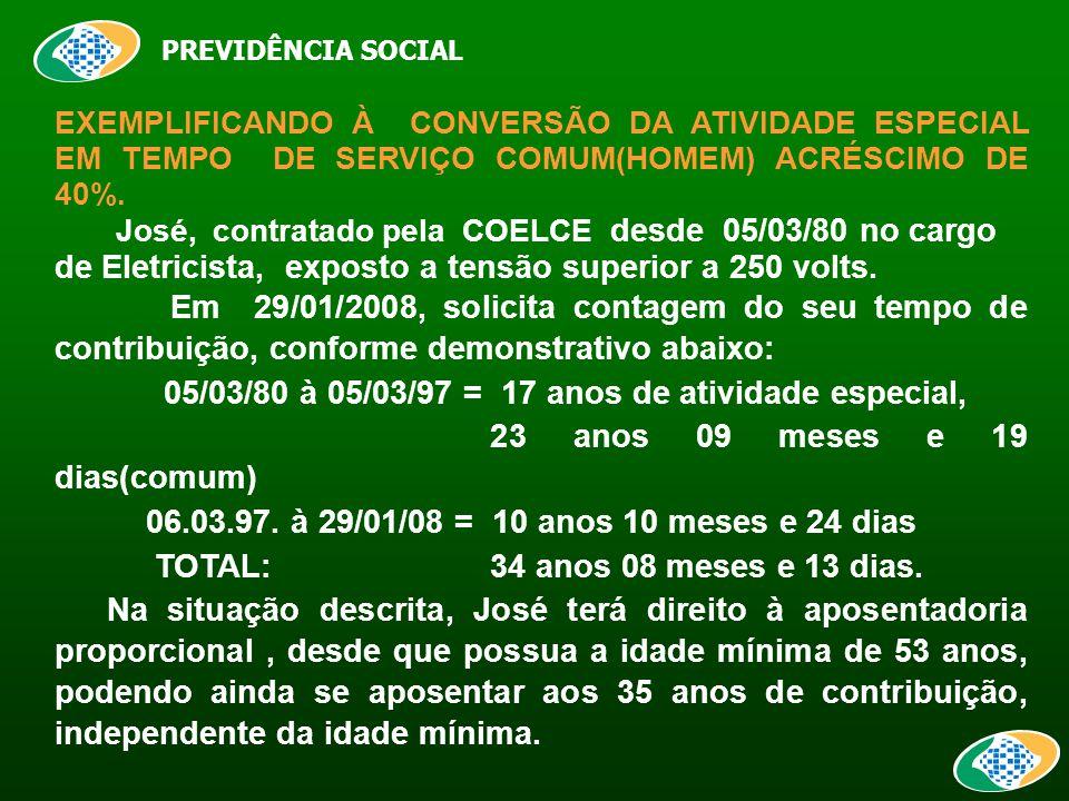 PREVIDÊNCIA SOCIAL EXEMPLIFICANDO À CONVERSÃO DA ATIVIDADE ESPECIAL EM TEMPO DE SERVIÇO COMUM(HOMEM) ACRÉSCIMO DE 40%.