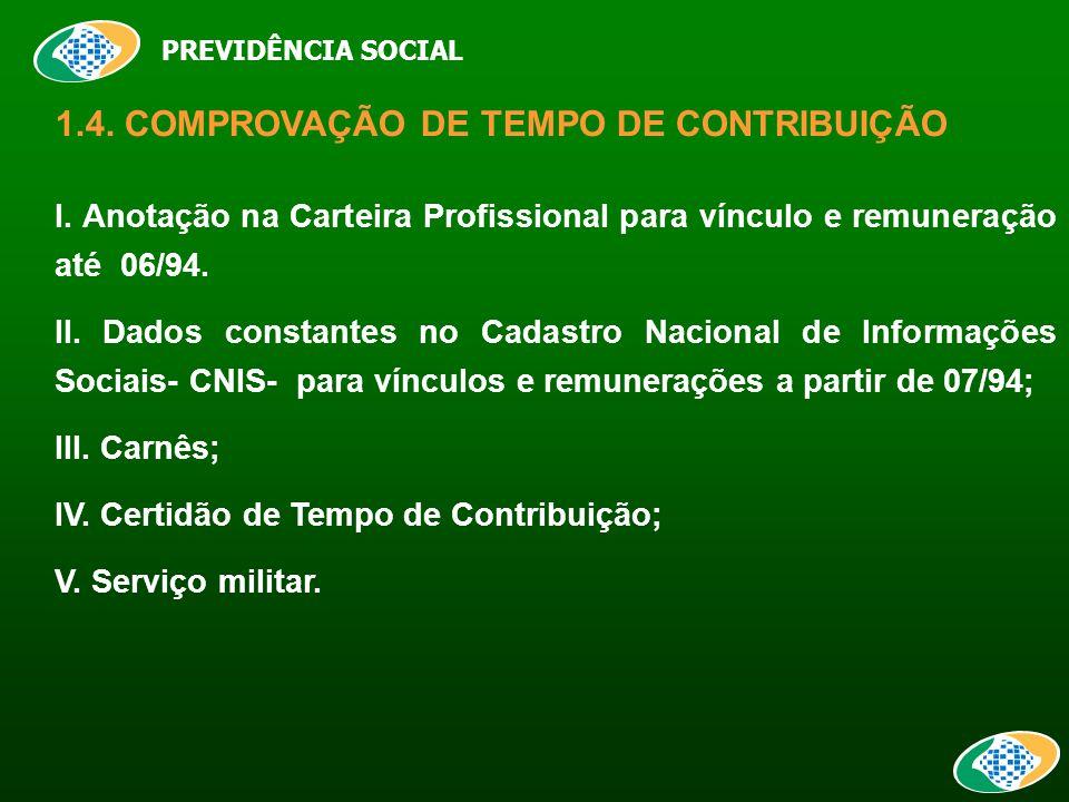 PREVIDÊNCIA SOCIAL 1.4. COMPROVAÇÃO DE TEMPO DE CONTRIBUIÇÃO I.