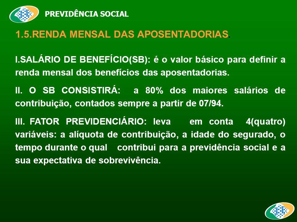 PREVIDÊNCIA SOCIAL 1.5.RENDA MENSAL DAS APOSENTADORIAS.