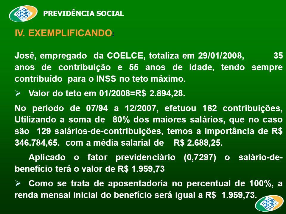 PREVIDÊNCIA SOCIAL IV.
