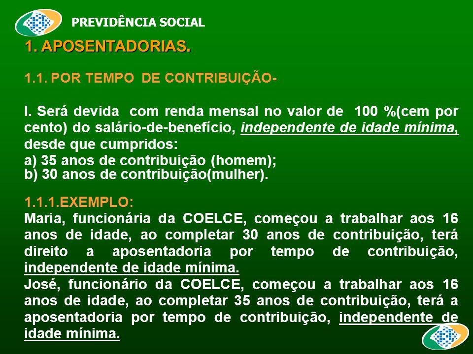 PREVIDÊNCIA SOCIAL 1. APOSENTADORIAS. 1.1. POR TEMPO DE CONTRIBUIÇÃO- I.