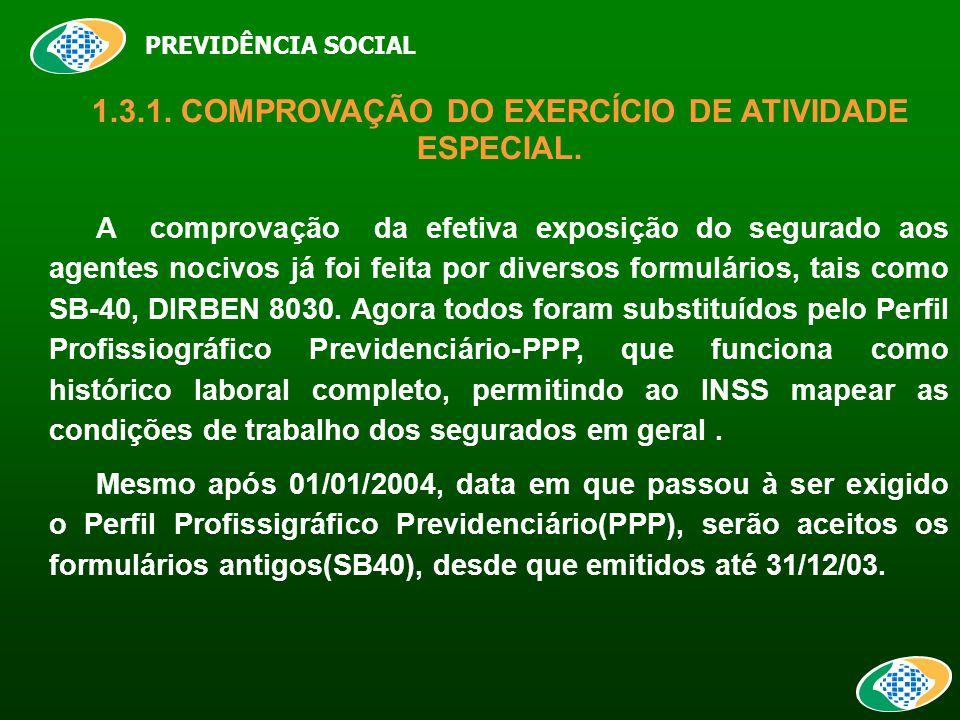 PREVIDÊNCIA SOCIAL 1.3.1. COMPROVAÇÃO DO EXERCÍCIO DE ATIVIDADE ESPECIAL.