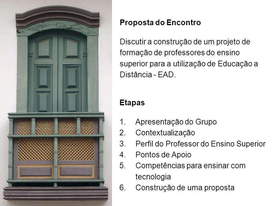 Proposta do Encontro Discutir a construção de um projeto de formação de professores do ensino superior para a utilização de Educação a Distância - EAD