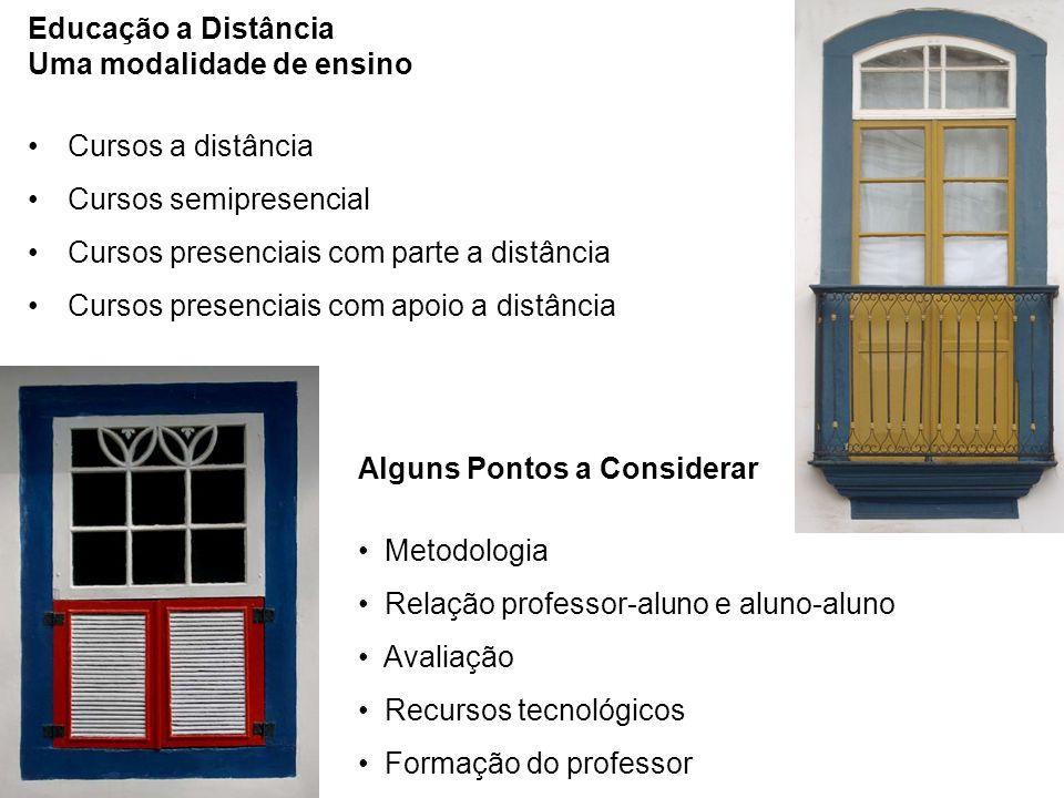 Educação a Distância Uma modalidade de ensino Cursos a distância Cursos semipresencial Cursos presenciais com parte a distância Cursos presenciais com