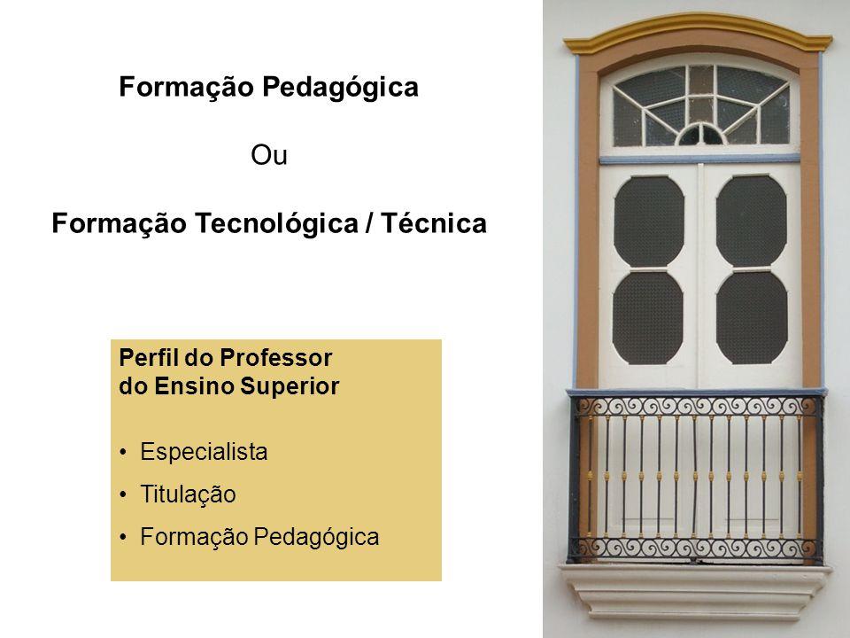 Formação Pedagógica Ou Formação Tecnológica / Técnica Perfil do Professor do Ensino Superior Especialista Titulação Formação Pedagógica
