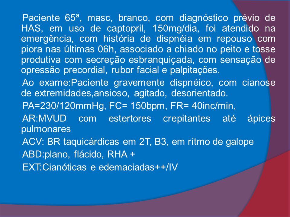 Paciente 65ª, masc, branco, com diagnóstico prévio de HAS, em uso de captopril, 150mg/dia, foi atendido na emergência, com história de dispnéia em rep