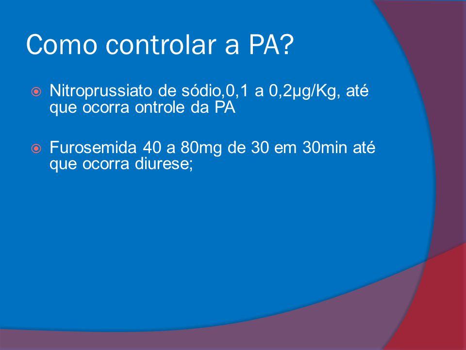 Como controlar a PA?  Nitroprussiato de sódio,0,1 a 0,2μg/Kg, até que ocorra ontrole da PA  Furosemida 40 a 80mg de 30 em 30min até que ocorra diure
