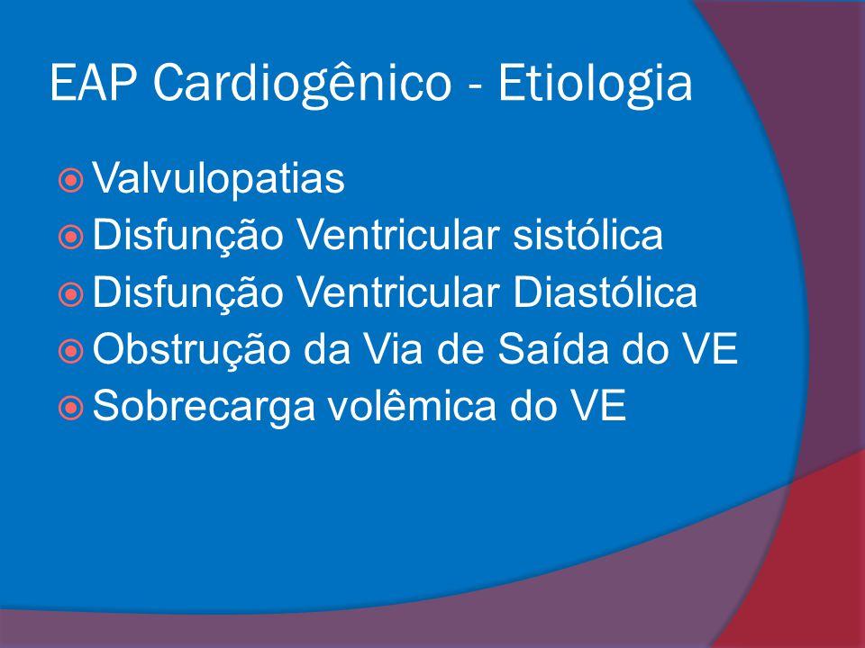EAP Cardiogênico - Etiologia  Valvulopatias  Disfunção Ventricular sistólica  Disfunção Ventricular Diastólica  Obstrução da Via de Saída do VE 