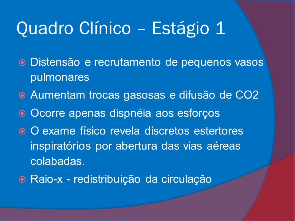 Quadro Clínico – Estágio 1  Distensão e recrutamento de pequenos vasos pulmonares  Aumentam trocas gasosas e difusão de CO2  Ocorre apenas dispnéia