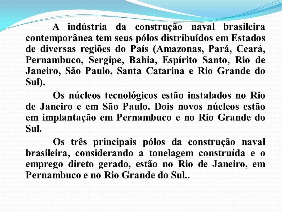 A indústria da construção naval brasileira contemporânea tem seus pólos distribuídos em Estados de diversas regiões do País (Amazonas, Pará, Ceará, Pe