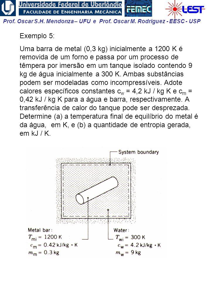Prof. Oscar S.H. Mendonza – UFU e Prof. Oscar M. Rodriguez - EESC - USP Exemplo 5: Uma barra de metal (0,3 kg) inicialmente a 1200 K é removida de um