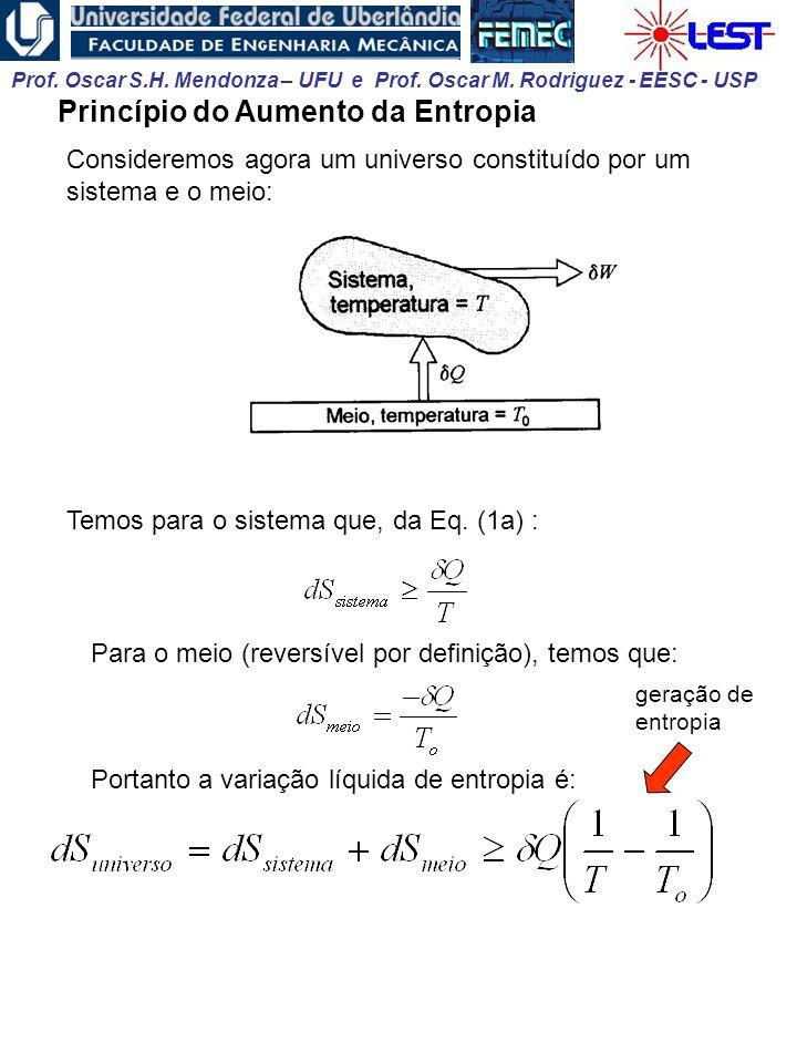 Prof. Oscar S.H. Mendonza – UFU e Prof. Oscar M. Rodriguez - EESC - USP Princípio do Aumento da Entropia Consideremos agora um universo constituído po