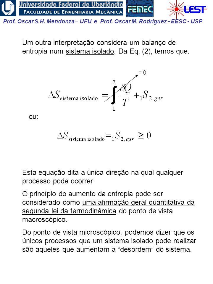 Prof. Oscar S.H. Mendonza – UFU e Prof. Oscar M. Rodriguez - EESC - USP Um outra interpretação considera um balanço de entropia num sistema isolado. D