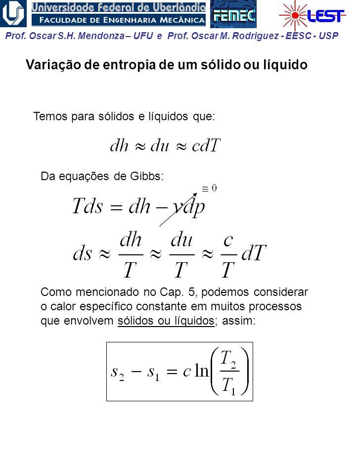 Prof. Oscar S.H. Mendonza – UFU e Prof. Oscar M. Rodriguez - EESC - USP Variação de entropia de um sólido ou líquido Temos para sólidos e líquidos que