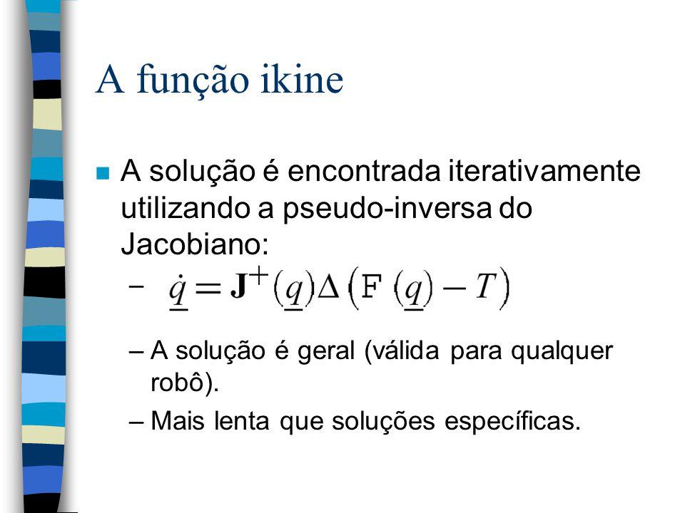 A função ikine n A solução é encontrada iterativamente utilizando a pseudo-inversa do Jacobiano: – –A solução é geral (válida para qualquer robô).