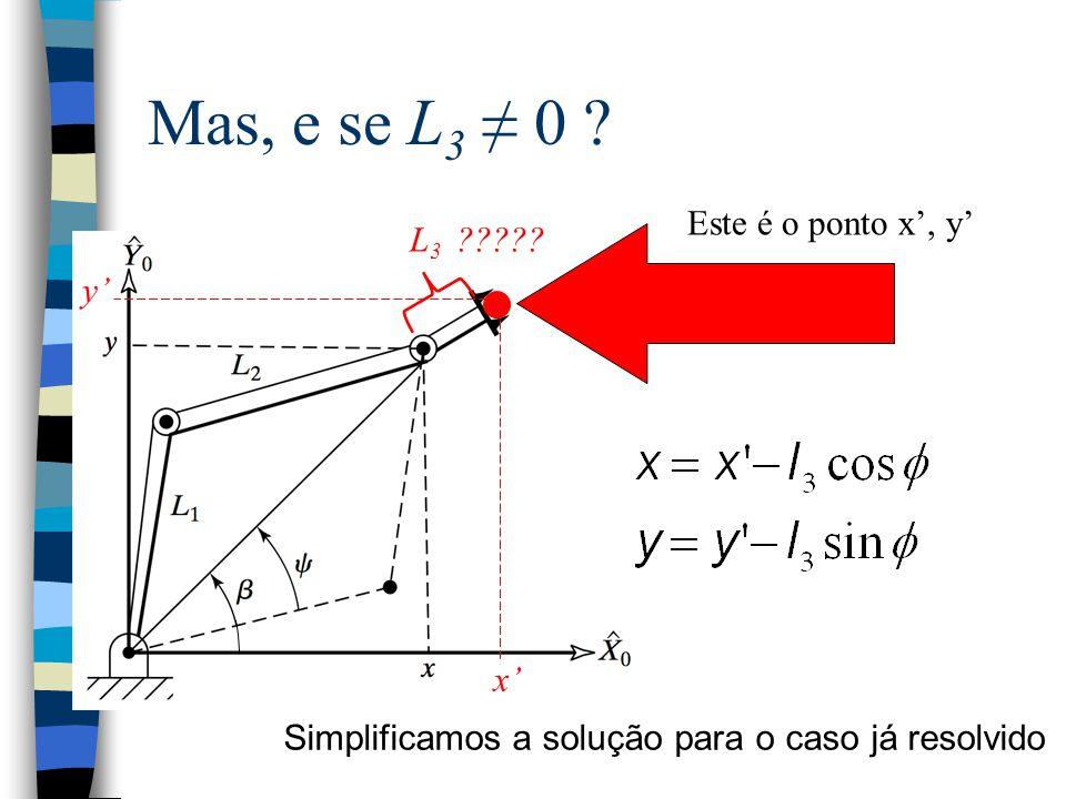 Mas, e se L 3 ≠ 0 ? L 3 ????? x' y' Este é o ponto x', y' Simplificamos a solução para o caso já resolvido