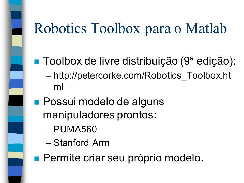 Robotics Toolbox para o Matlab n Toolbox de livre distribuição (9ª edição): –http://petercorke.com/Robotics_Toolbox.ht ml n Possui modelo de alguns manipuladores prontos: –PUMA560 –Stanford Arm n Permite criar seu próprio modelo.