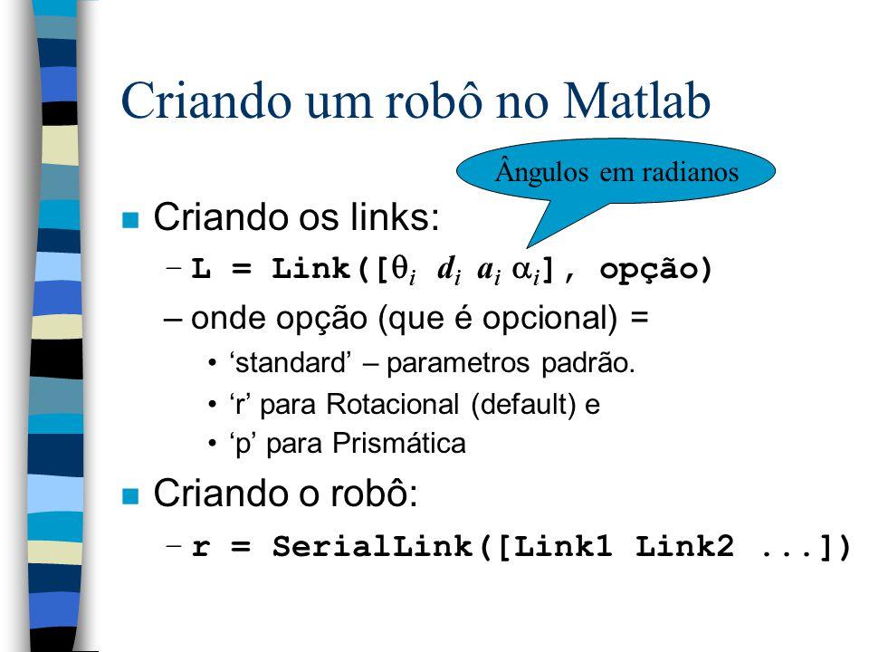 Criando um robô no Matlab n Criando os links: –L = Link([  i d i a i  i ], opção) –onde opção (que é opcional) = 'standard' – parametros padrão.