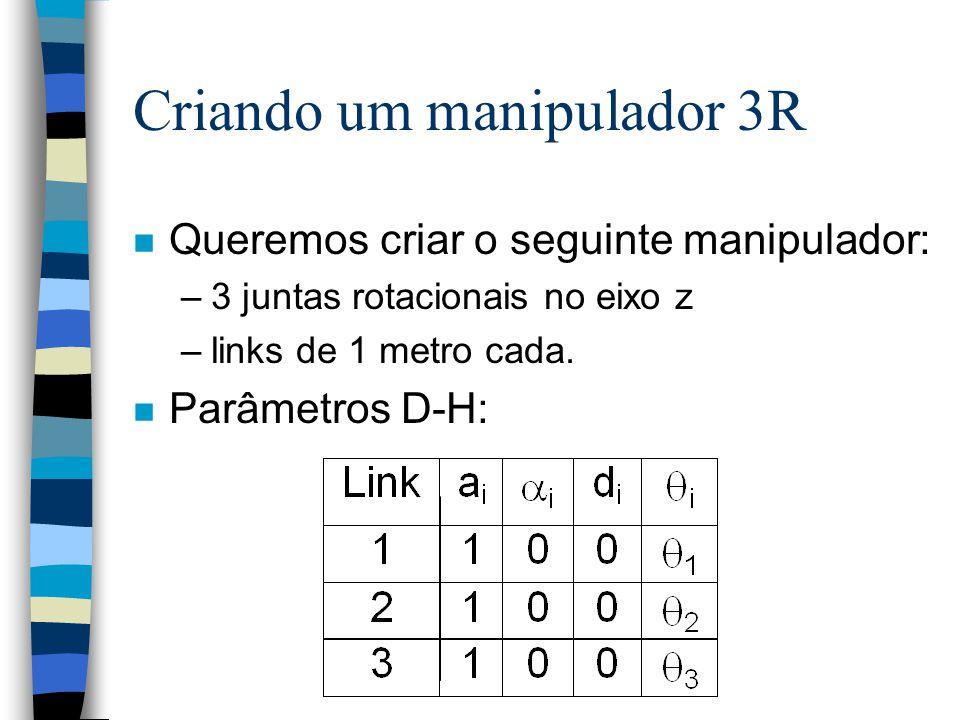 Criando um manipulador 3R n Queremos criar o seguinte manipulador: –3 juntas rotacionais no eixo z –links de 1 metro cada. n Parâmetros D-H: