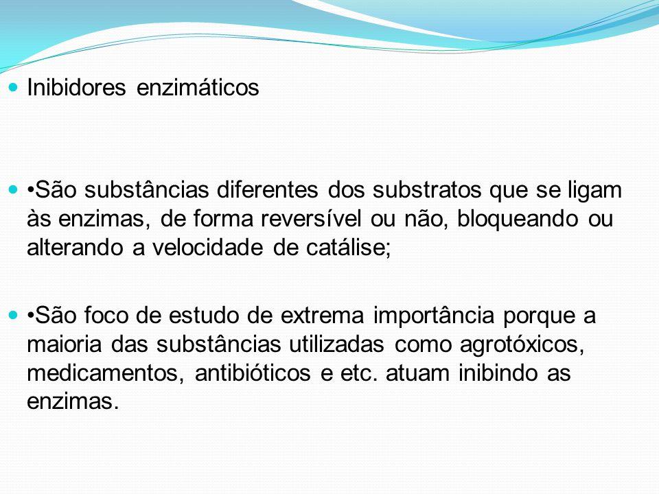 Inibidores enzimáticos São substâncias diferentes dos substratos que se ligam às enzimas, de forma reversível ou não, bloqueando ou alterando a veloci