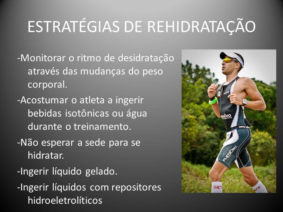 ESTRATÉGIAS DE REHIDRATAÇÃO -Monitorar o ritmo de desidratação através das mudanças do peso corporal. -Acostumar o atleta a ingerir bebidas isotônicas