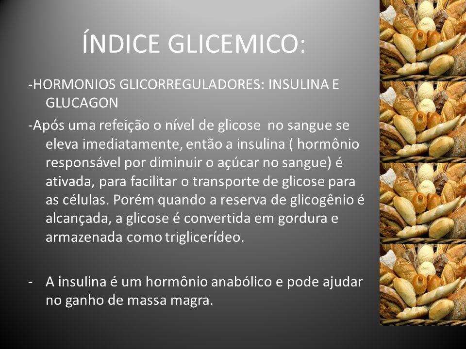 ÍNDICE GLICEMICO: -HORMONIOS GLICORREGULADORES: INSULINA E GLUCAGON -Após uma refeição o nível de glicose no sangue se eleva imediatamente, então a in