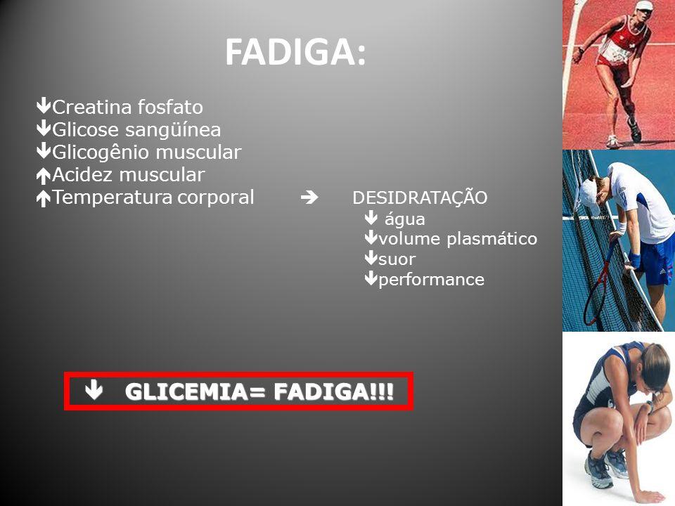 FADIGA:  Creatina fosfato  Glicose sangüínea  Glicogênio muscular  Acidez muscular  Temperatura corporal  DESIDRATAÇÃO  água  volume plasmátic