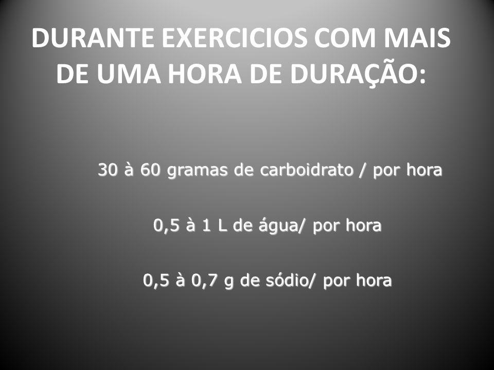DURANTE EXERCICIOS COM MAIS DE UMA HORA DE DURAÇÃO: 30 à 60 gramas de carboidrato / por hora 30 à 60 gramas de carboidrato / por hora 0,5 à 1 L de águ