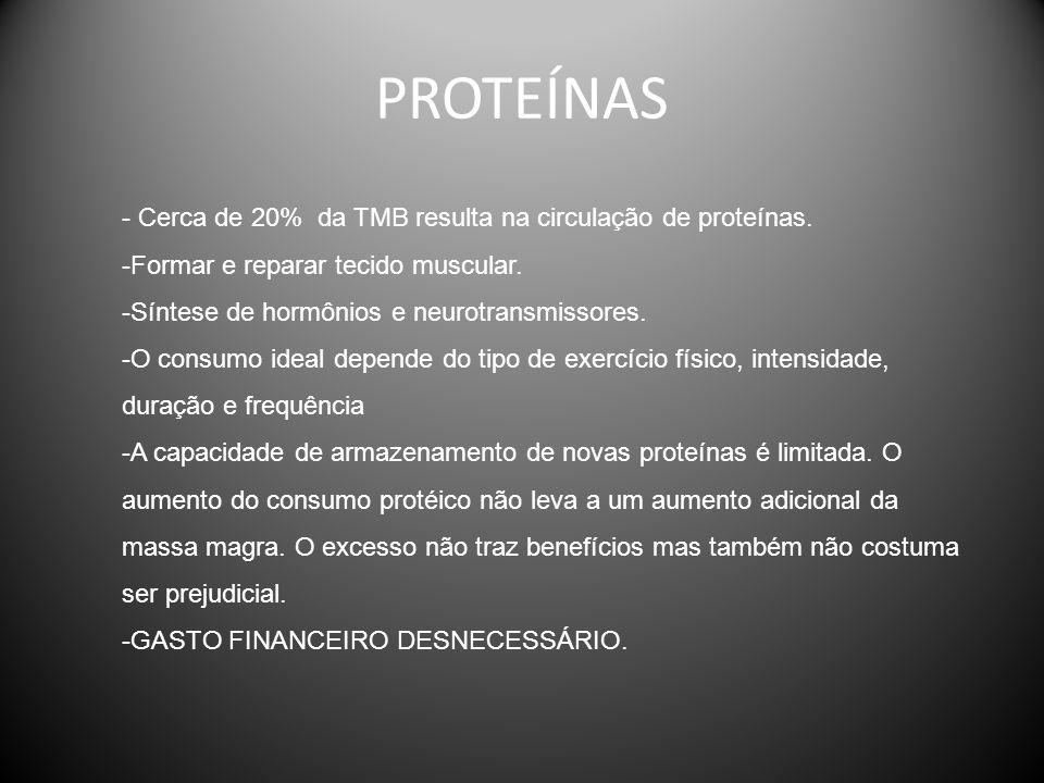 PROTEÍNAS - Cerca de 20% da TMB resulta na circulação de proteínas. -Formar e reparar tecido muscular. -Síntese de hormônios e neurotransmissores. -O