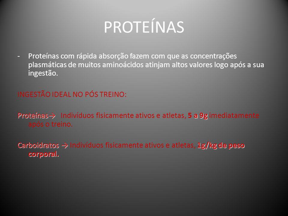 PROTEÍNAS -Proteínas com rápida absorção fazem com que as concentrações plasmáticas de muitos aminoácidos atinjam altos valores logo após a sua ingest
