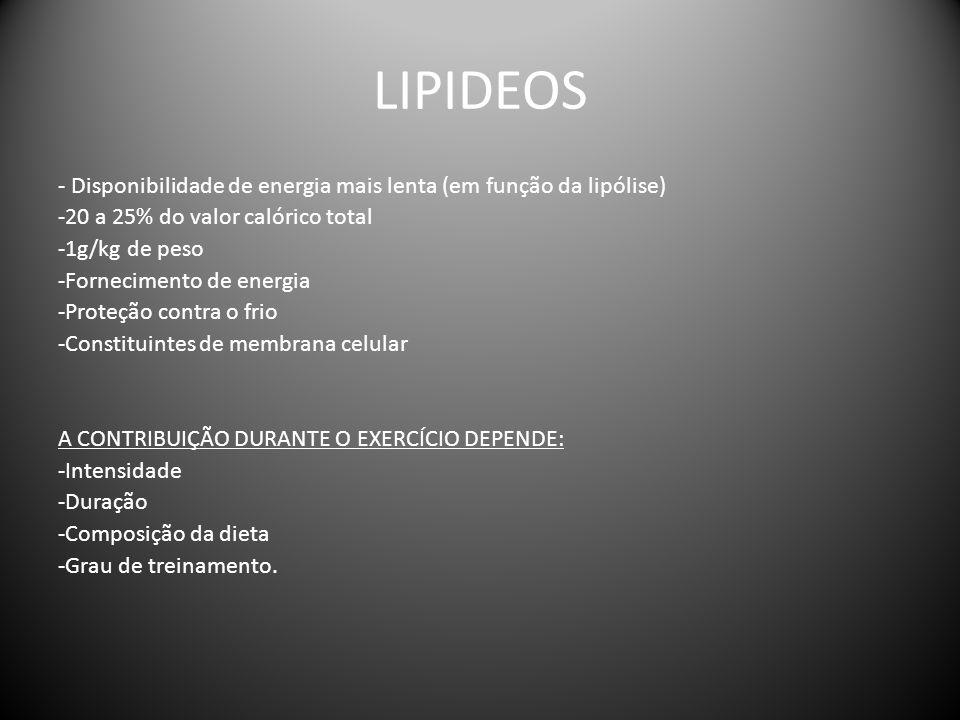 LIPIDEOS - Disponibilidade de energia mais lenta (em função da lipólise) -20 a 25% do valor calórico total -1g/kg de peso -Fornecimento de energia -Pr