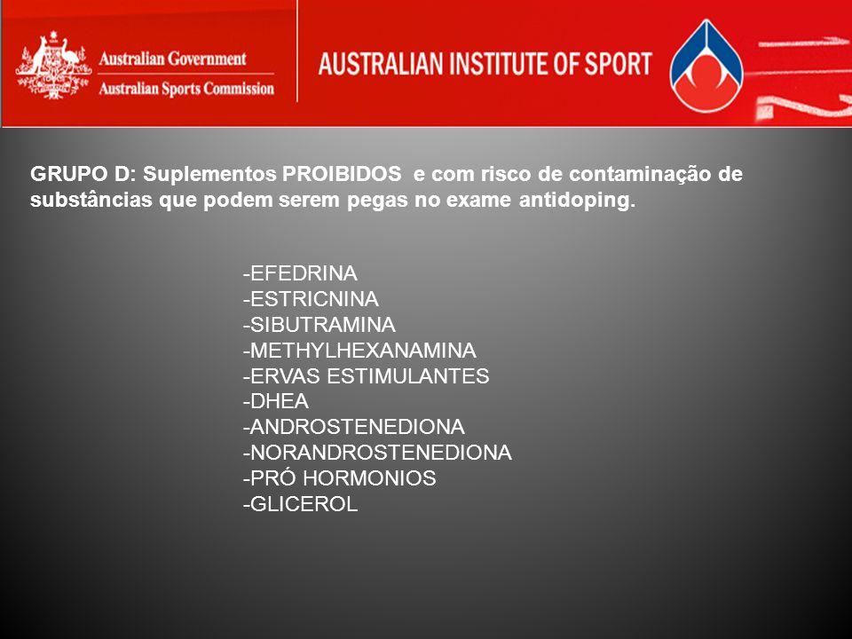 GRUPO D: Suplementos PROIBIDOS e com risco de contaminação de substâncias que podem serem pegas no exame antidoping. -EFEDRINA -ESTRICNINA -SIBUTRAMIN