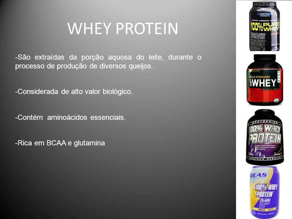 WHEY PROTEIN -São extraídas da porção aquosa do leite, durante o processo de produção de diversos queijos. -Considerada de alto valor biológico. -Cont