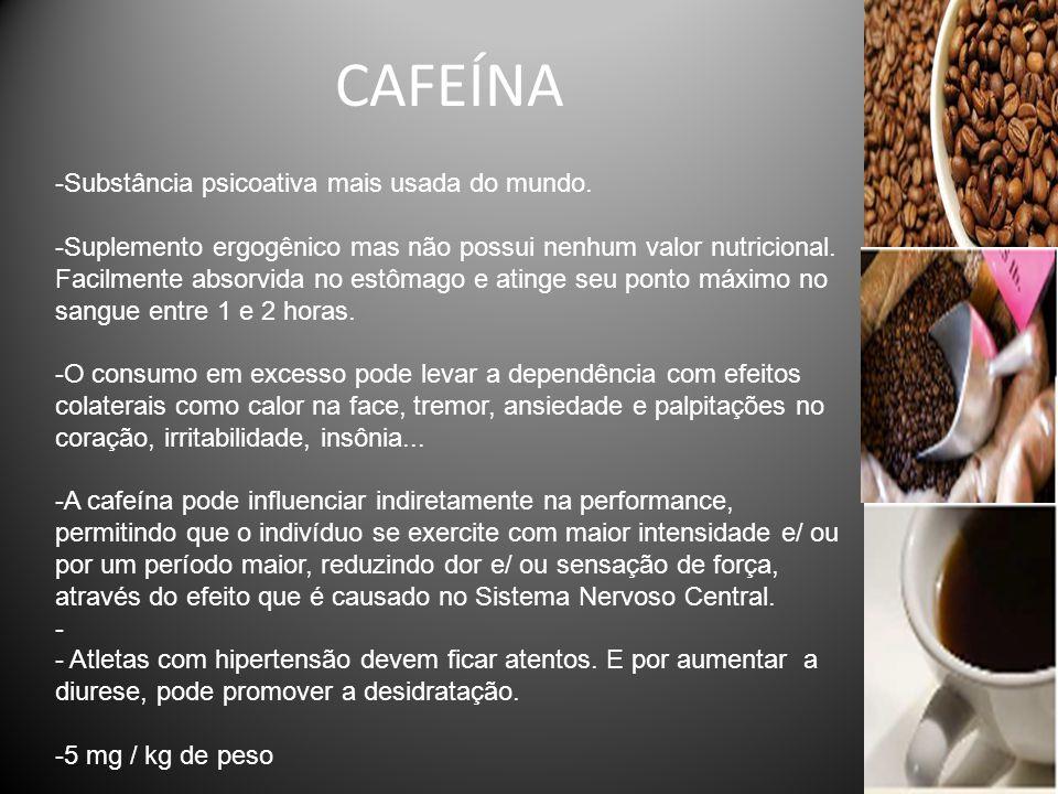 CAFEÍNA -Substância psicoativa mais usada do mundo. -Suplemento ergogênico mas não possui nenhum valor nutricional. Facilmente absorvida no estômago e