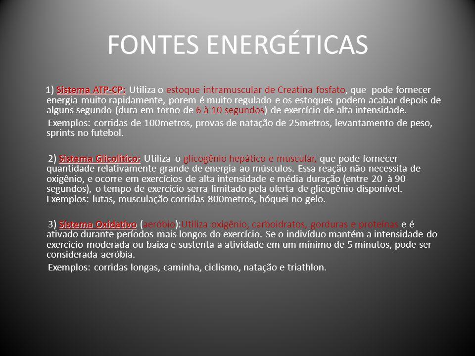FONTES ENERGÉTICAS Sistema ATP-CP: 1) Sistema ATP-CP: Utiliza o estoque intramuscular de Creatina fosfato, que pode fornecer energia muito rapidamente
