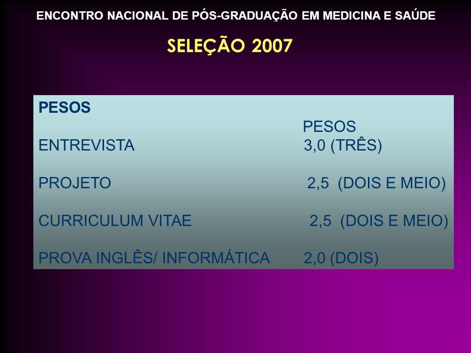 ENCONTRO NACIONAL DE PÓS-GRADUAÇÃO EM MEDICINA E SAÚDE SELEÇÃO 2007 PESOS ENTREVISTA 3,0 (TRÊS) PROJETO 2,5 (DOIS E MEIO) CURRICULUM VITAE 2,5 (DOIS E MEIO) PROVA INGLÊS/ INFORMÁTICA 2,0 (DOIS)