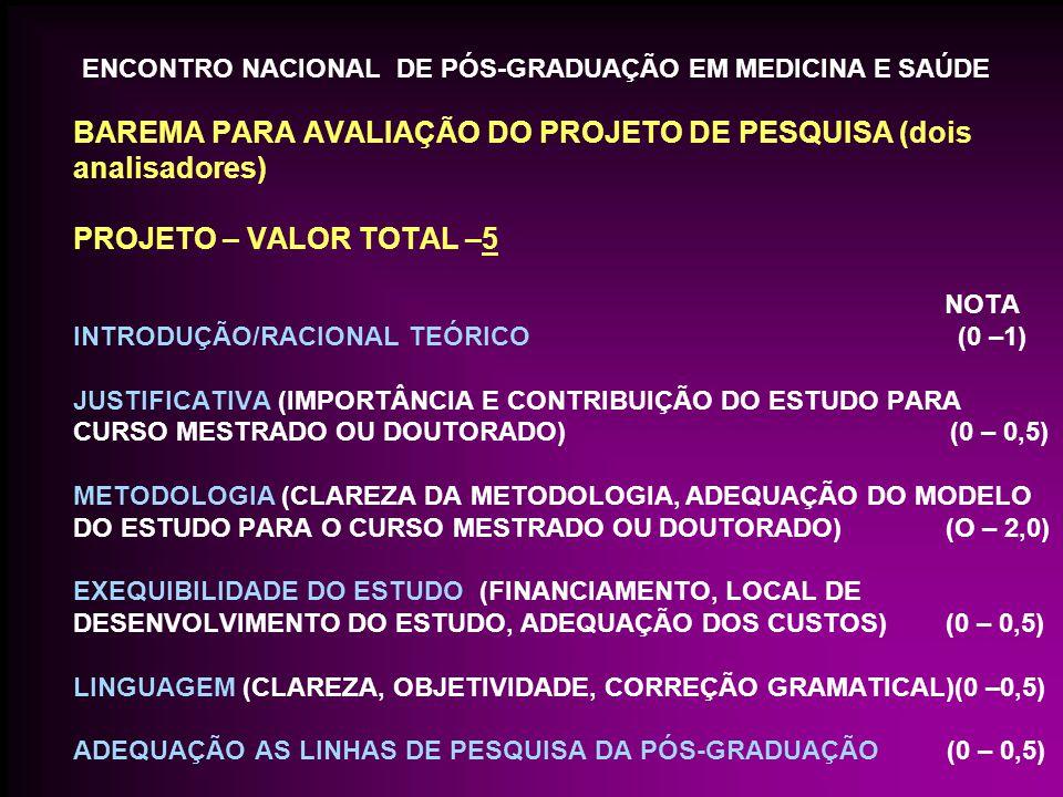 BAREMA PARA AVALIAÇÃO DO PROJETO DE PESQUISA (dois analisadores) PROJETO – VALOR TOTAL –5 NOTA INTRODUÇÃO/RACIONAL TEÓRICO (0 –1) JUSTIFICATIVA (IMPORTÂNCIA E CONTRIBUIÇÃO DO ESTUDO PARA CURSO MESTRADO OU DOUTORADO) (0 – 0,5) METODOLOGIA (CLAREZA DA METODOLOGIA, ADEQUAÇÃO DO MODELO DO ESTUDO PARA O CURSO MESTRADO OU DOUTORADO) (O – 2,0) EXEQUIBILIDADE DO ESTUDO (FINANCIAMENTO, LOCAL DE DESENVOLVIMENTO DO ESTUDO, ADEQUAÇÃO DOS CUSTOS) (0 – 0,5) LINGUAGEM (CLAREZA, OBJETIVIDADE, CORREÇÃO GRAMATICAL)(0 –0,5) ADEQUAÇÃO AS LINHAS DE PESQUISA DA PÓS-GRADUAÇÃO (0 – 0,5) ENCONTRO NACIONAL DE PÓS-GRADUAÇÃO EM MEDICINA E SAÚDE